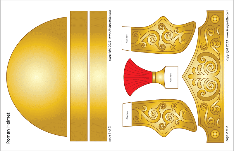 Printable Roman Imperial Helmet - Colored Template