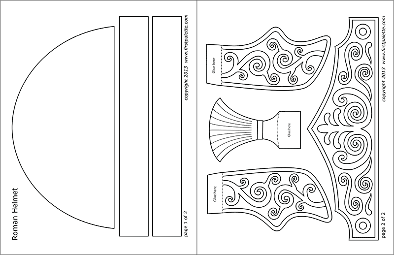 Printable Roman Imperial Helmet - Ready-to Color Template