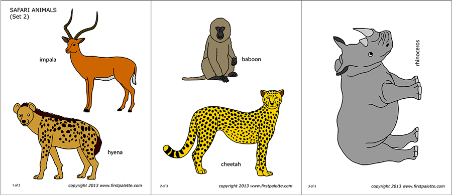 image relating to Printable Safari Animals titled Safari or African Savanna Pets No cost Printable Templates