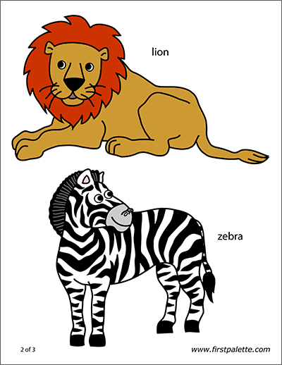Printable Safari or African Savanna Animals