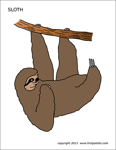 Sloth | Free Printable Templates & Coloring Pages | FirstPalette.com