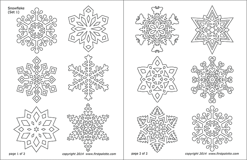 image about Snowflake Cutouts Printable identified as Snowflake Coloring Internet pages No cost Printable Templates