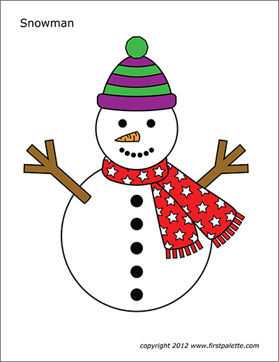 Printable Colored Large Snowman 2