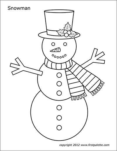 photo relating to Free Printable Snowman titled Snowman Totally free Printable Templates Coloring Webpages