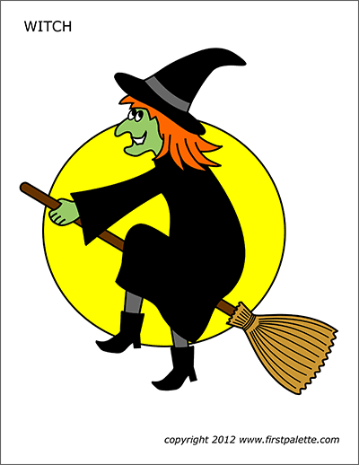 Printable Large Colored Witch